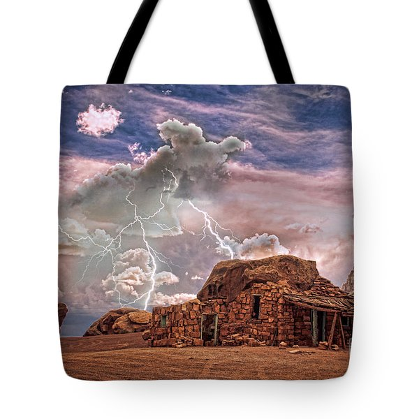 Southwest Navajo Rock House and Lightning Strikes HDR Tote Bag by James BO  Insogna