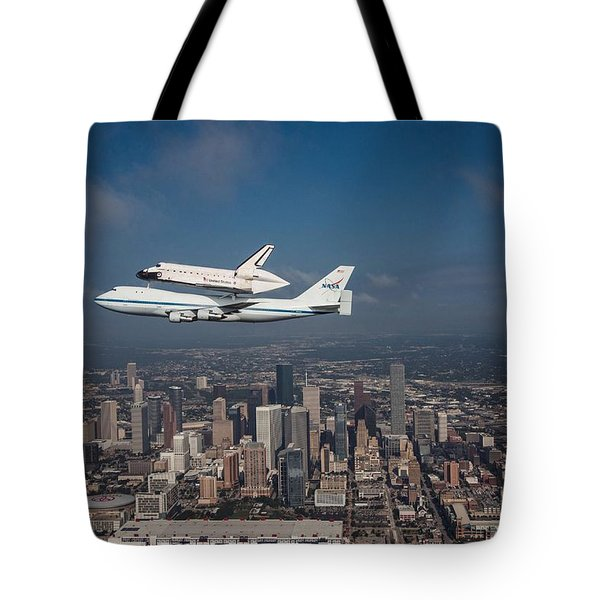 Space Shuttle Endeavour Over Houston Texas Tote Bag by Movie Poster Prints