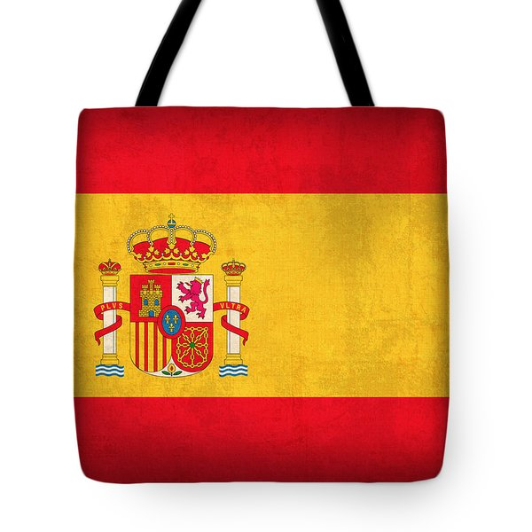 Spain Flag Vintage Distressed Finish Tote Bag by Design Turnpike