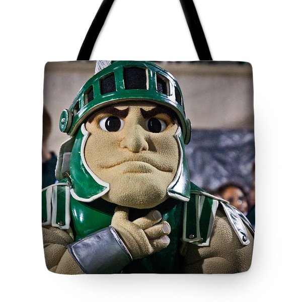 Sparty And Izzo National Anthem  Tote Bag by John McGraw