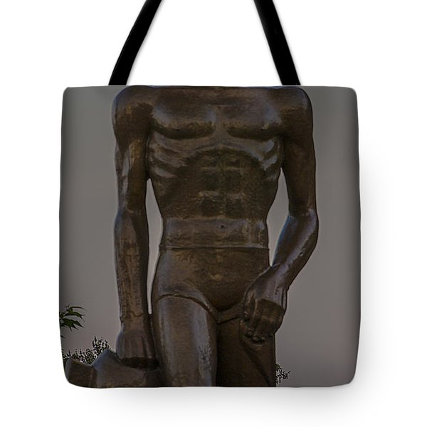 Sparty And Moon Tote Bag by John McGraw