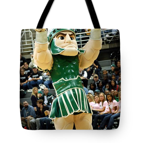 Sparty At Basketball Game  Tote Bag by John McGraw