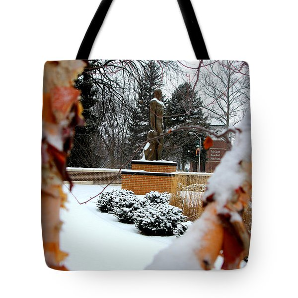 Sparty In The Winter Tote Bag by John McGraw