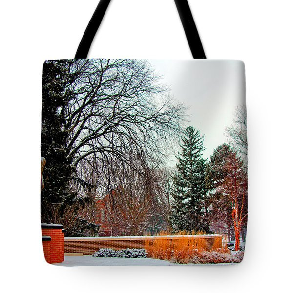 Sparty In Winter  Tote Bag by John McGraw