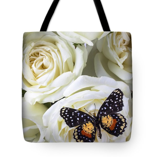 Speckled butterfly on white rose Tote Bag by Garry Gay