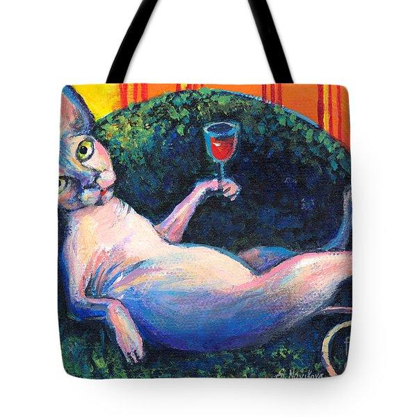 Sphynx Cat Relaxing Tote Bag by Svetlana Novikova
