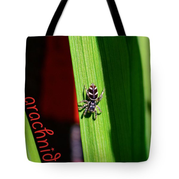 Spider On Green Leaf Tote Bag by Toppart Sweden