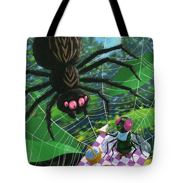 spider picnic Tote Bag by Martin Davey