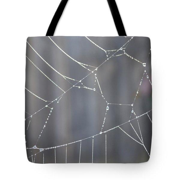 Spider Web In Rain Tote Bag by Cheryl Miller