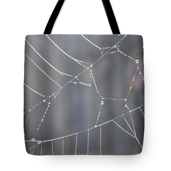 Spider Web In Rain Tote Bag by Cheryl Miller