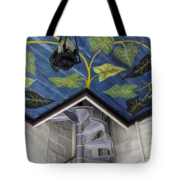 Spiral Stairs And Mural Tote Bag by Lynn Palmer