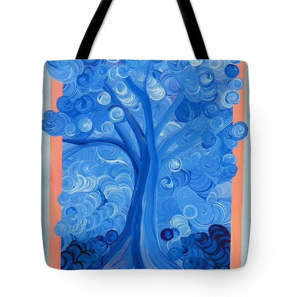 Spiral Tree Winter Blue Tote Bag by First Star Art
