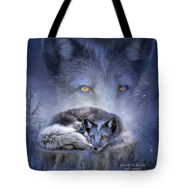 Spirit Of The Blue Fox Tote Bag by Carol Cavalaris