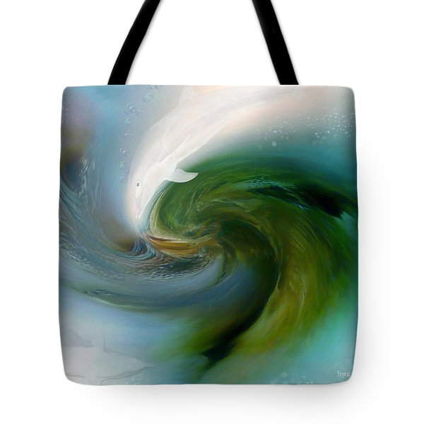 Spirit Of The White Dolphin Tote Bag by Carol Cavalaris
