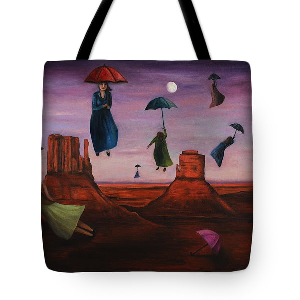Spirits Of The Flying Umbrellas Tote Bag by Leah Saulnier The Painting Maniac