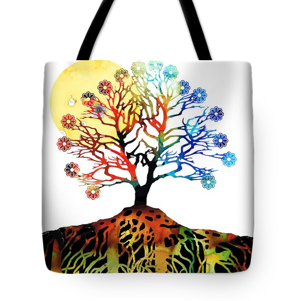 Spiritual Art - Tree Of Life Tote Bag by Sharon Cummings