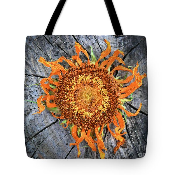 Split Sunflower Tote Bag by Angela Wright