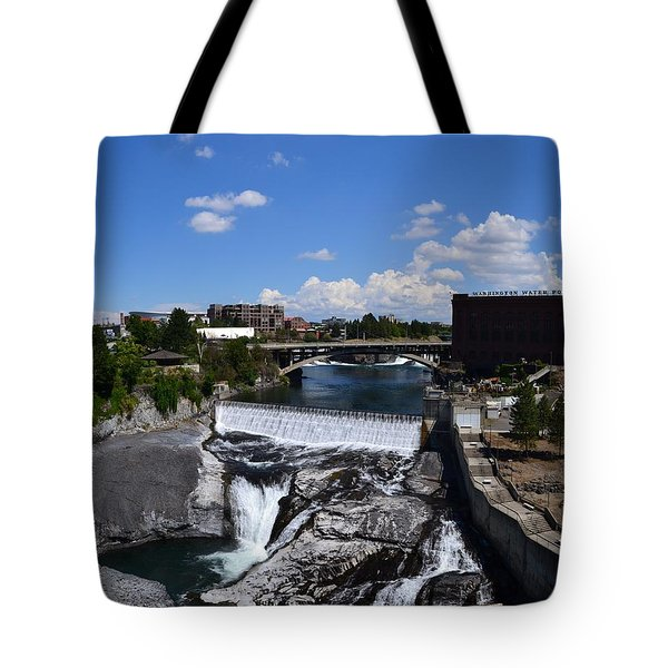 Spokane Falls and Riverfront Tote Bag by Michelle Calkins