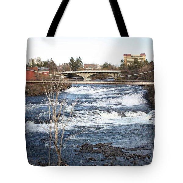 Spokane Falls In Winter Tote Bag by Carol Groenen