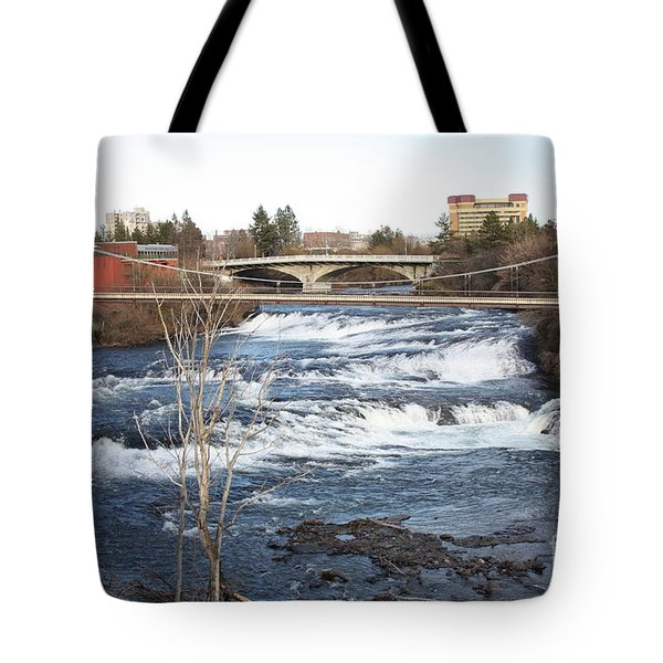 Spokane Falls in Winter Tote Bag by Carol Groenen