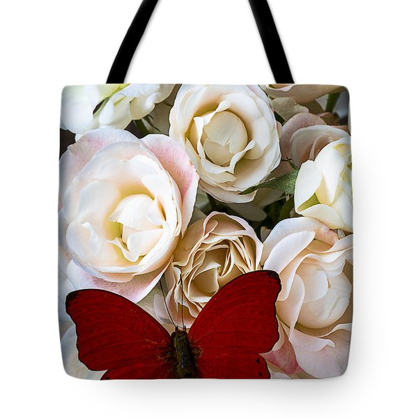 Spray roses and red butterfly Tote Bag by Garry Gay