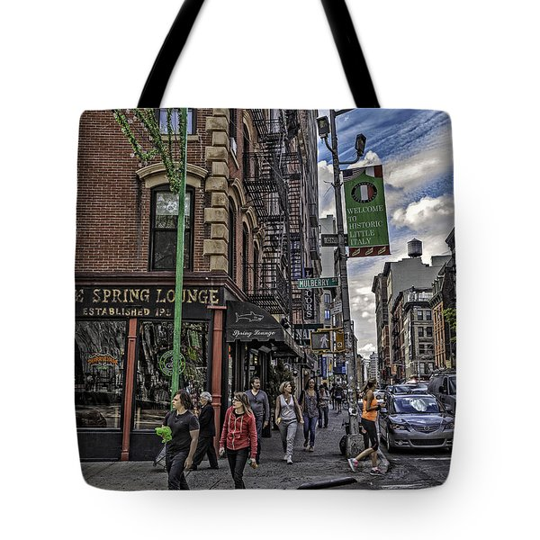 Spring and Mulberry - Street Scene - NYC Tote Bag by Madeline Ellis