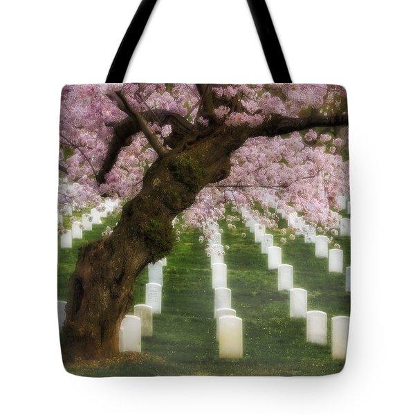 Spring Arives At Arlington National Cemetery Tote Bag by Susan Candelario