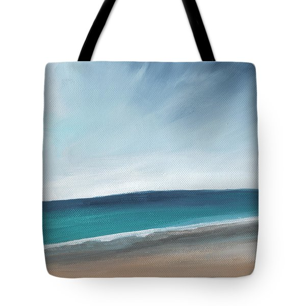 Spring Beach- Contemporary Abstract Landscape Tote Bag by Linda Woods
