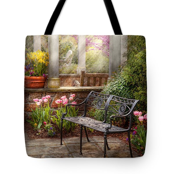 Spring - Bench - A Place To Retire  Tote Bag by Mike Savad