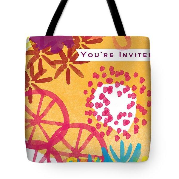 Spring Floral Invitation- Greeting Card Tote Bag by Linda Woods