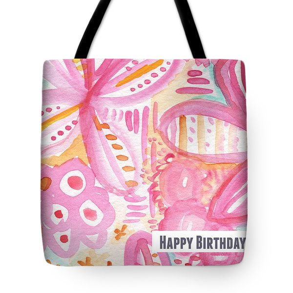 Spring Flowers Birthday Card Tote Bag by Linda Woods