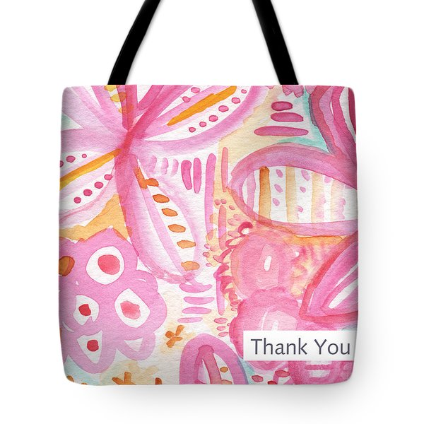 Spring Flowers Thank You Card Tote Bag by Linda Woods