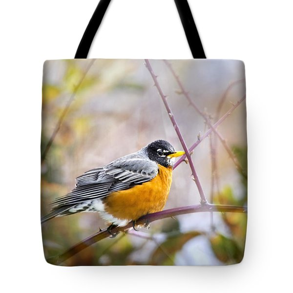Spring Robin Tote Bag by Christina Rollo