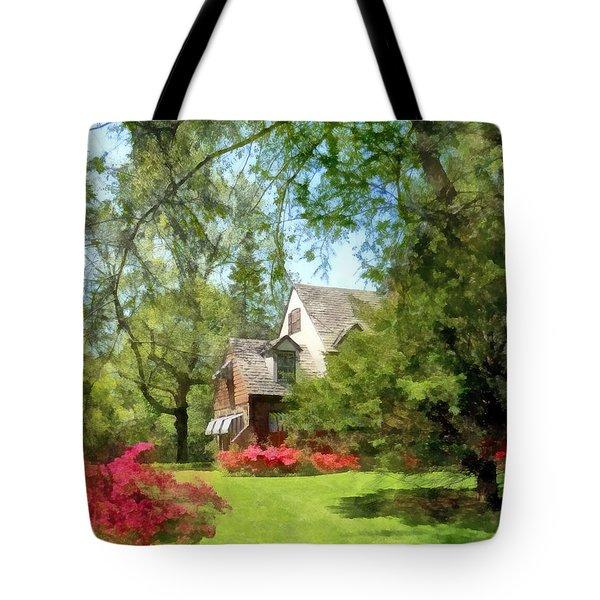 Spring - Suburban House With Azaleas Tote Bag by Susan Savad