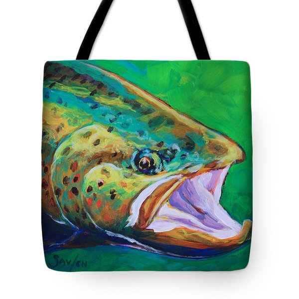Spring Time Brown Trout- Fly Fishing Art Tote Bag by Savlen Art