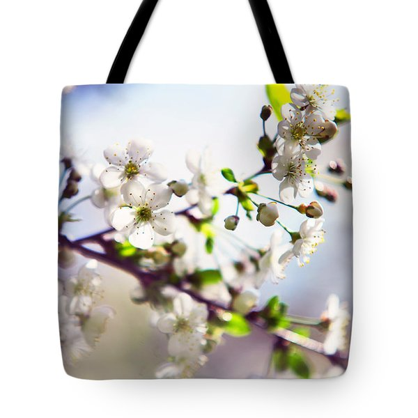Spring White Cherry Tree  Tote Bag by Jenny Rainbow