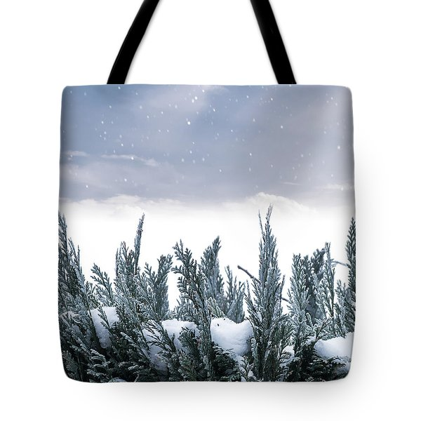 Spruce In Snow Tote Bag by Wim Lanclus