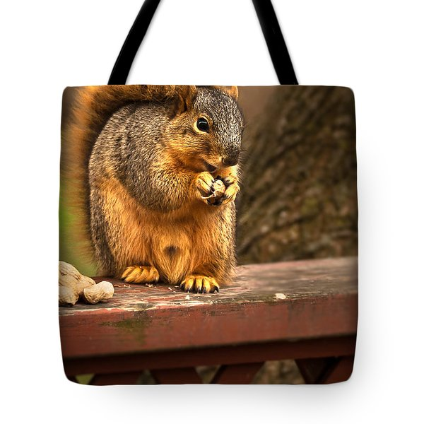 Squirrel Eating a Peanut Tote Bag by  onyonet  photo studios