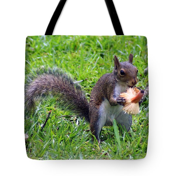 Squirrel Eats Mushroom Tote Bag by Kim Pate