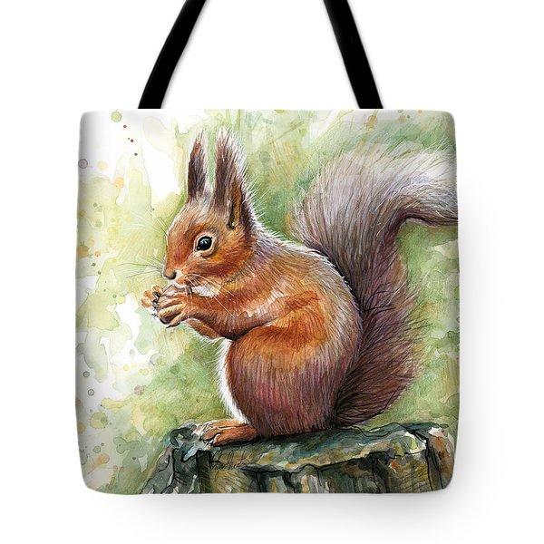Squirrel Watercolor Art Tote Bag by Olga Shvartsur