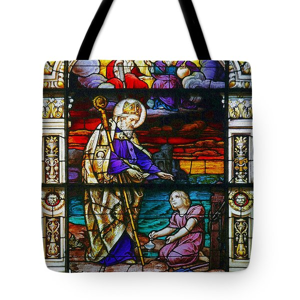 St Augustine By The Sea Shore Talking To A Child Tote Bag by Christine Till