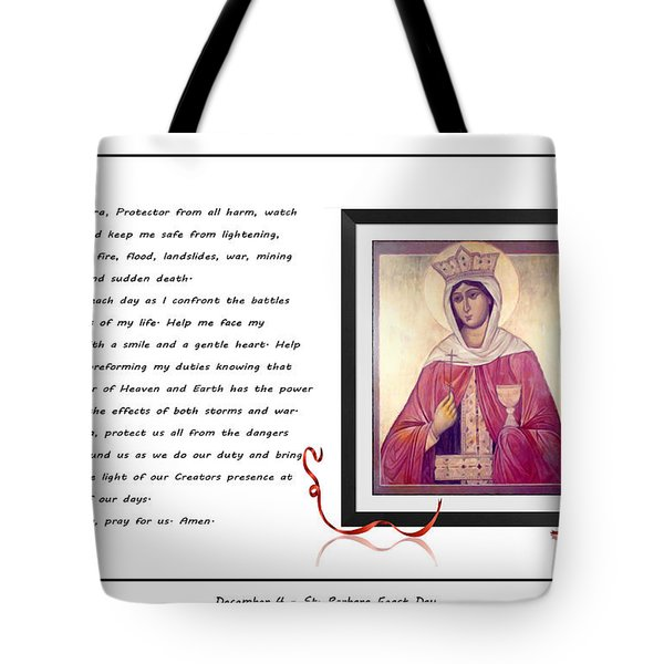 St. Barbara Protector From All Harm - Prayer - Petition Tote Bag by Barbara Griffin
