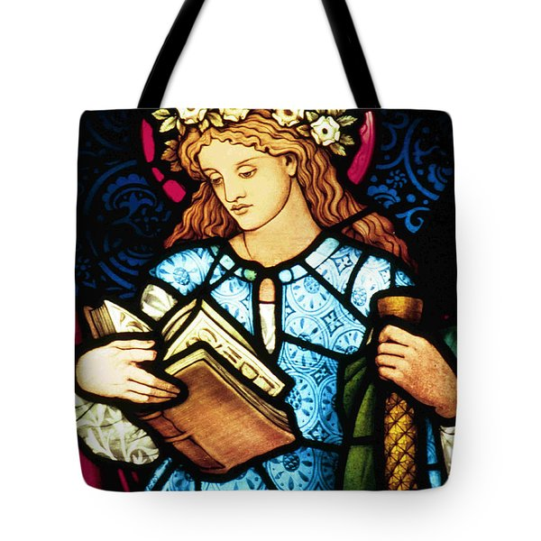 St Catherine Of Alexandria In Stained Glass Tote Bag by Philip Ralley