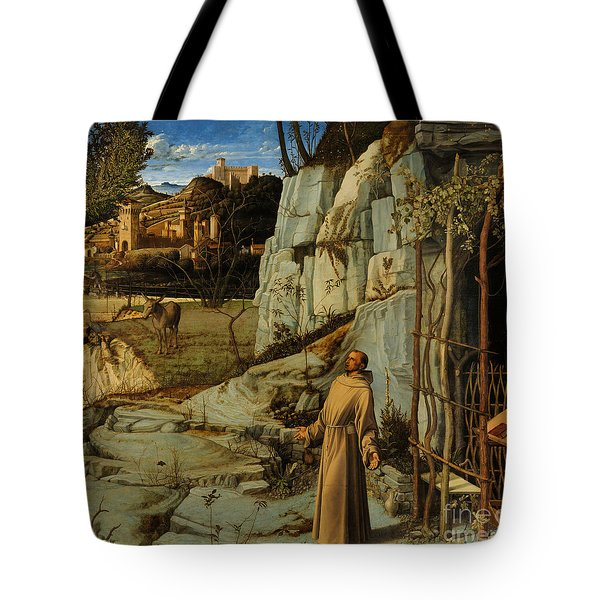 St Francis Of Assisi In The Desert Tote Bag by Giovanni Bellini
