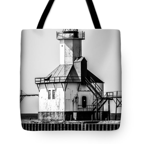 St. Joseph Lighthouse Black and White Picture  Tote Bag by Paul Velgos