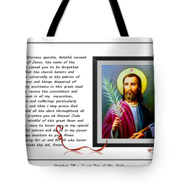 St. Jude Patron of Hopeless Cases - Prayer - Petition Tote Bag by Barbara Griffin