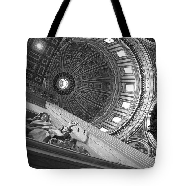 St Peter's Basilica Bw Tote Bag by Chevy Fleet