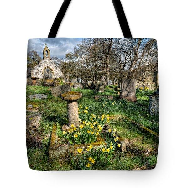 St Tysilio Graveyard Tote Bag by Adrian Evans