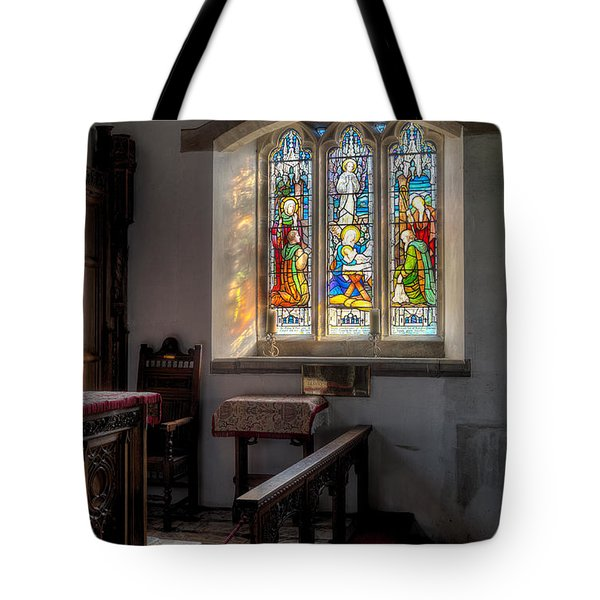 St Tysilio Window  Tote Bag by Adrian Evans