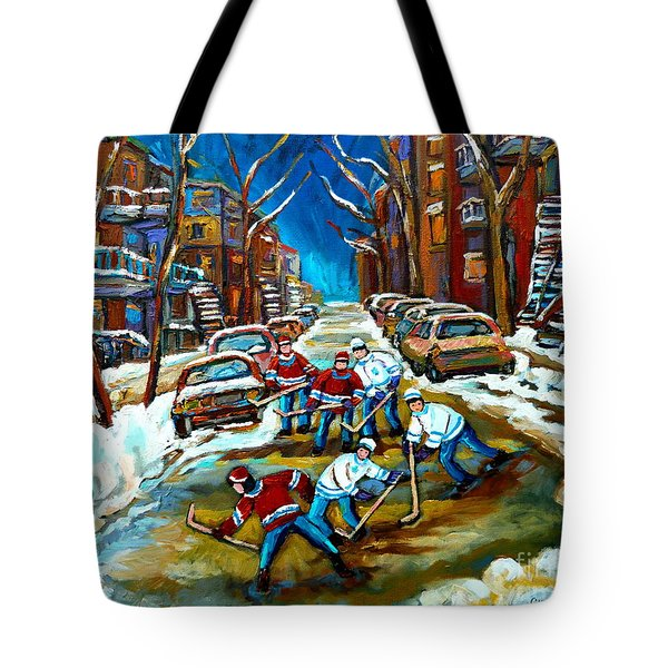 ST URBAIN STREET BOYS PLAYING HOCKEY Tote Bag by CAROLE SPANDAU